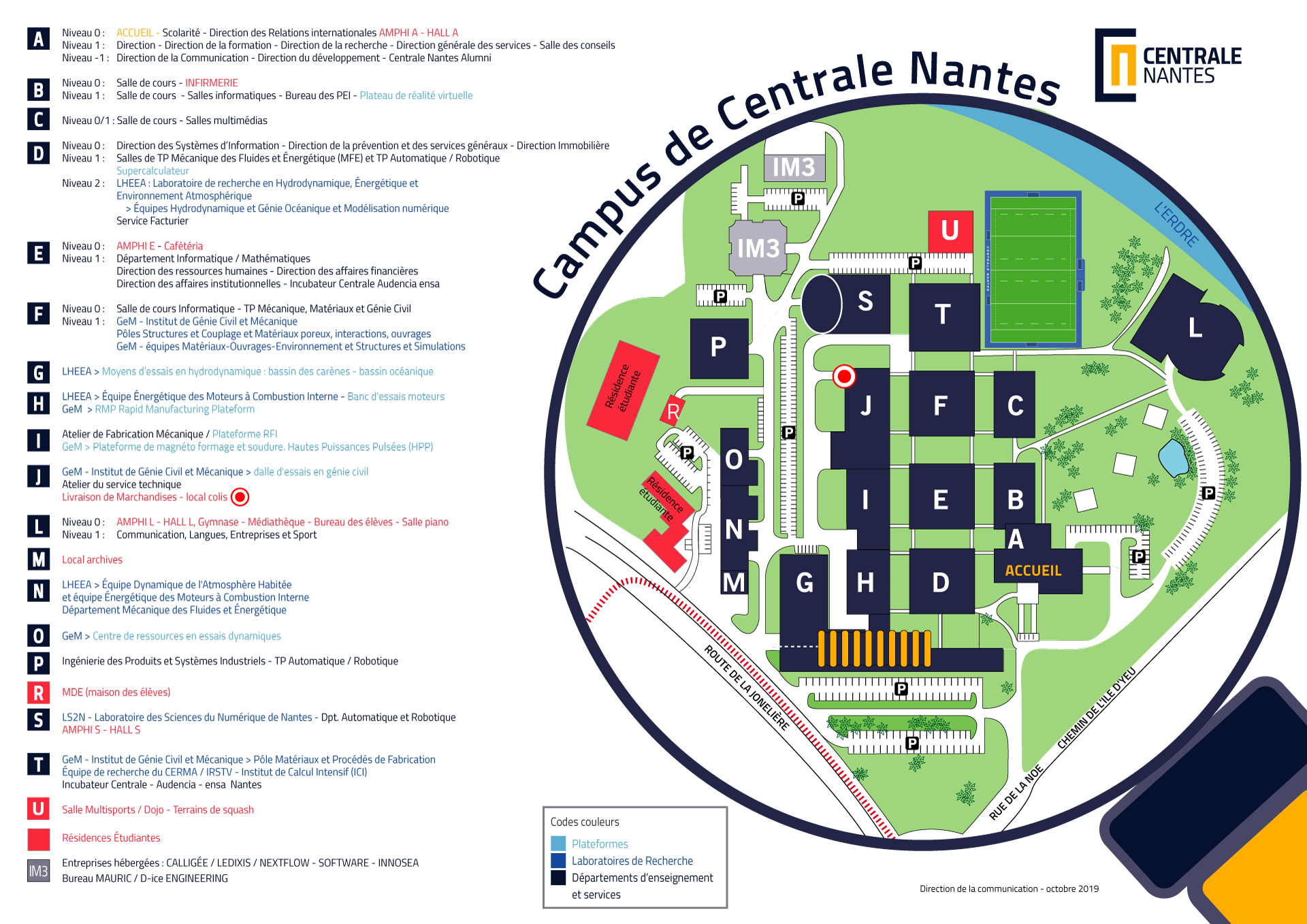 plan du campus de Centrale Nantes